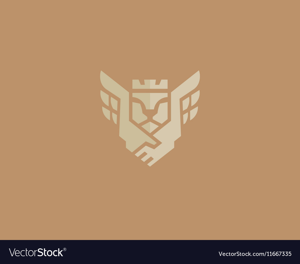 Lion king wings logotype Handshake crown vector image
