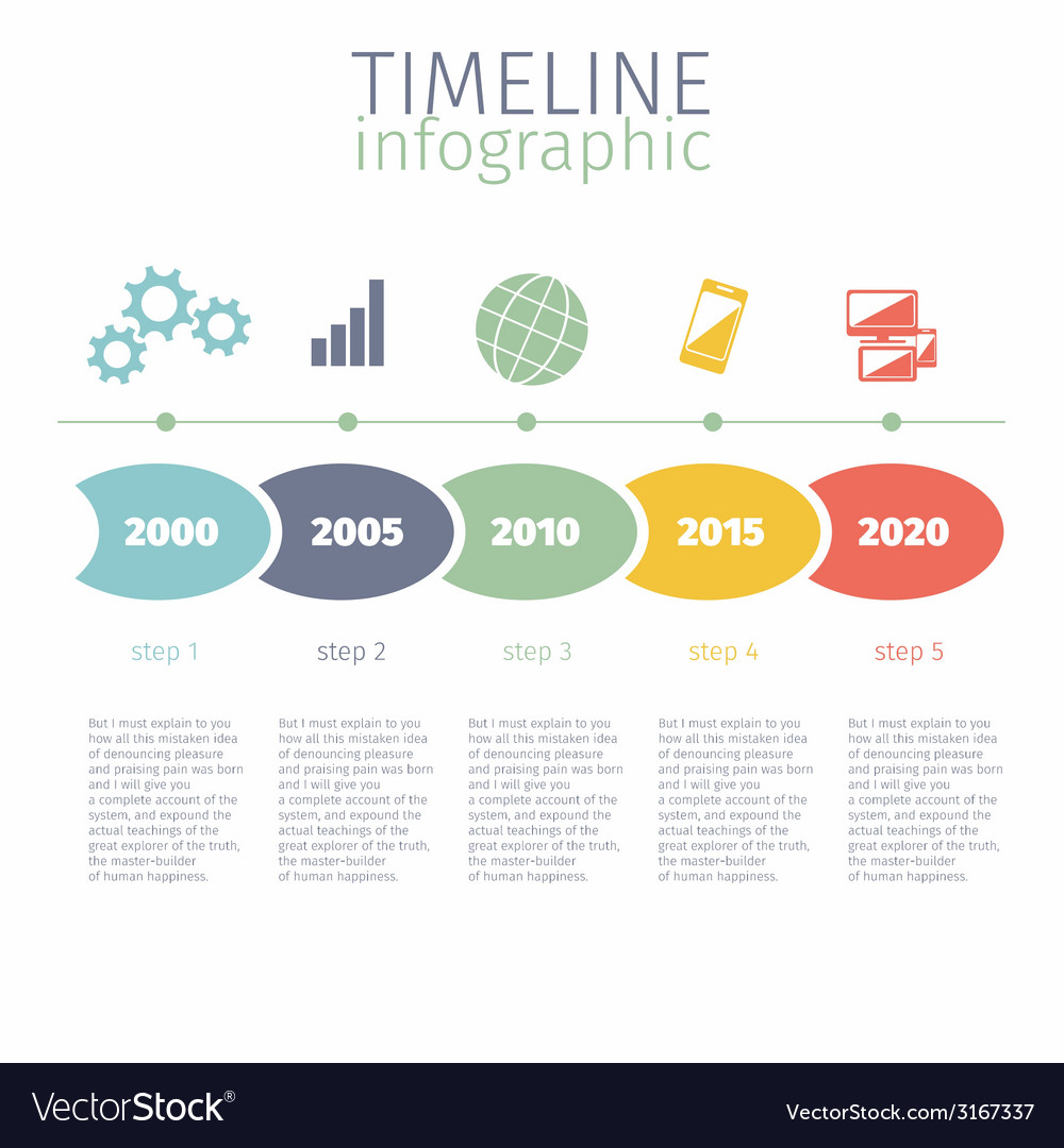 Timeline infographic with diagram and text vector image pooptronica Images