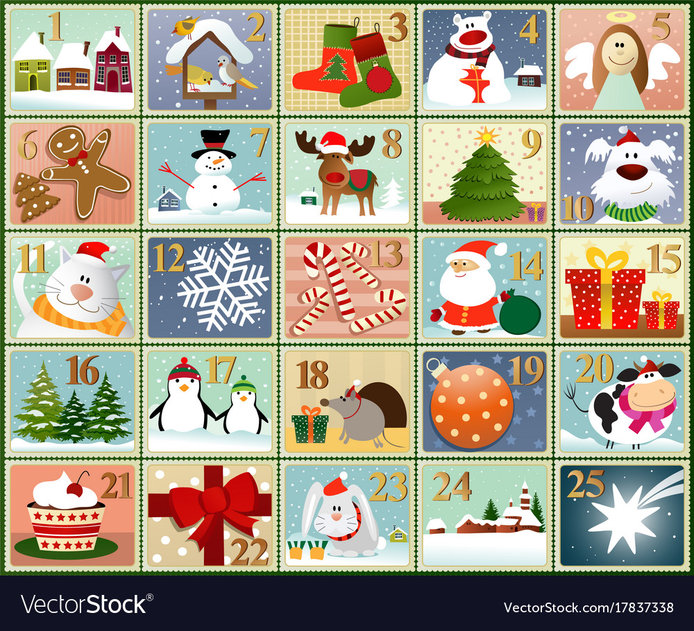 Advent stamps calendar vector image