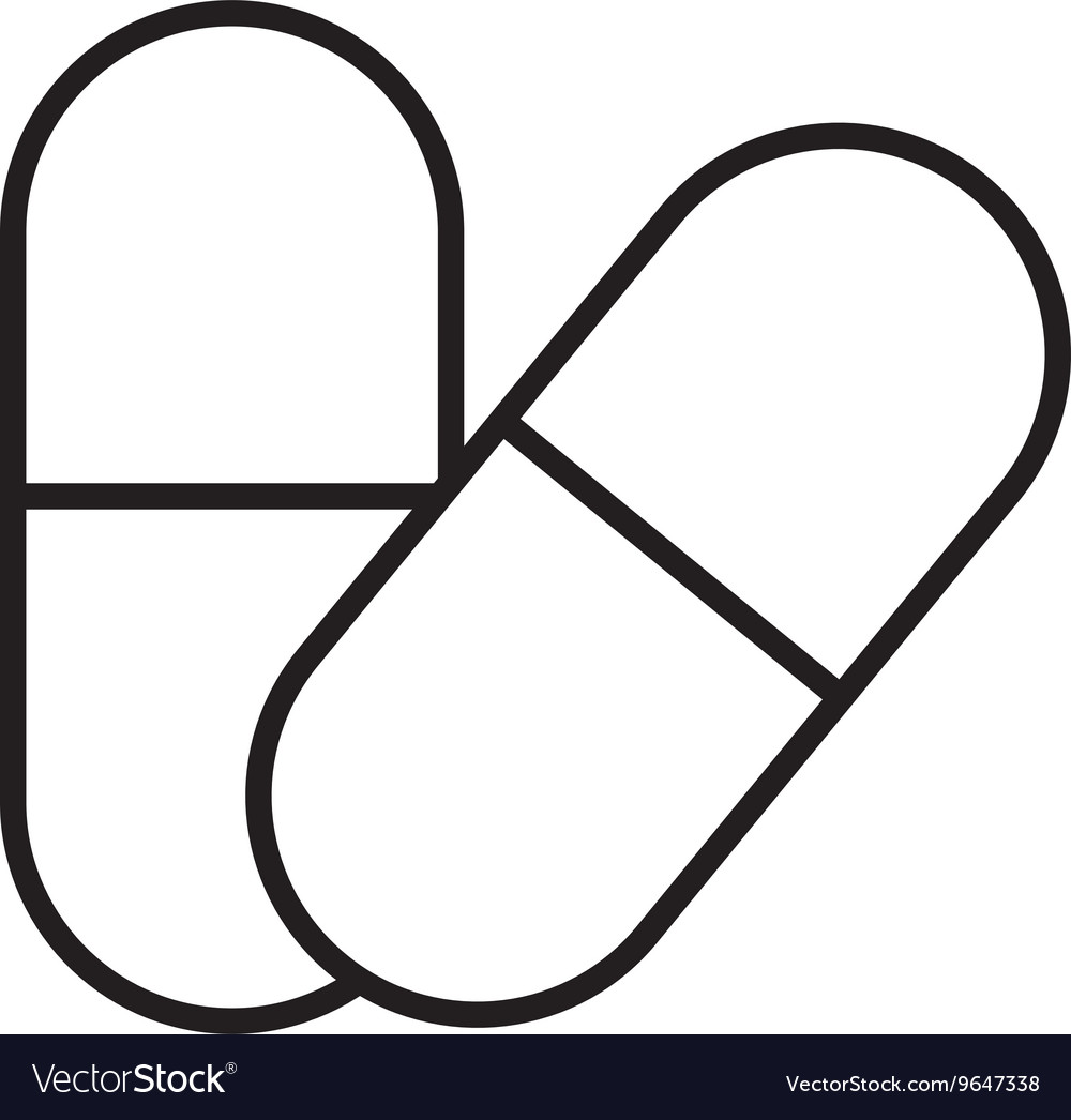 Isolated set of medicine pills graphic vector image