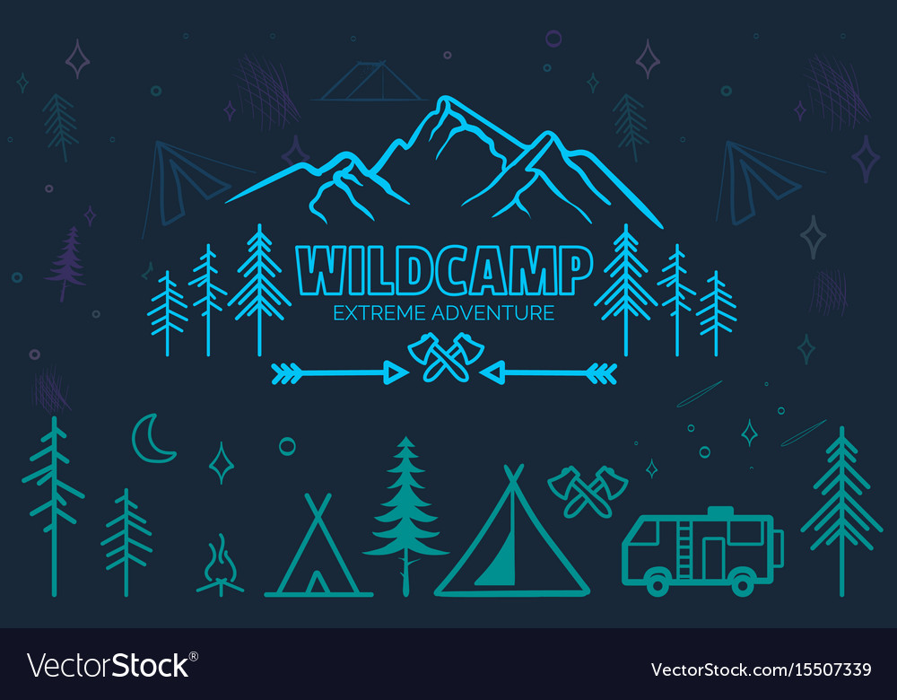 Hand drawn sketch camping icons set vector image