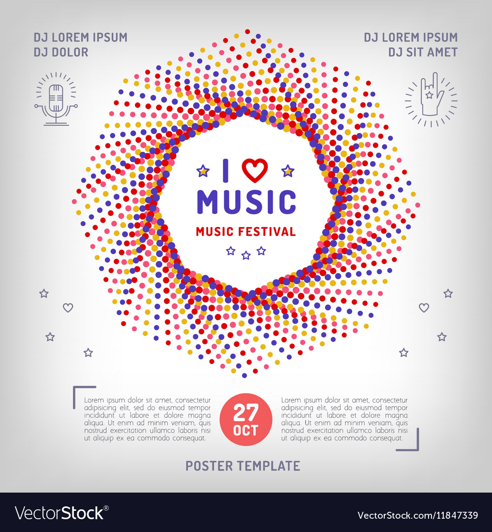 Music retro square banner poster or card vector image