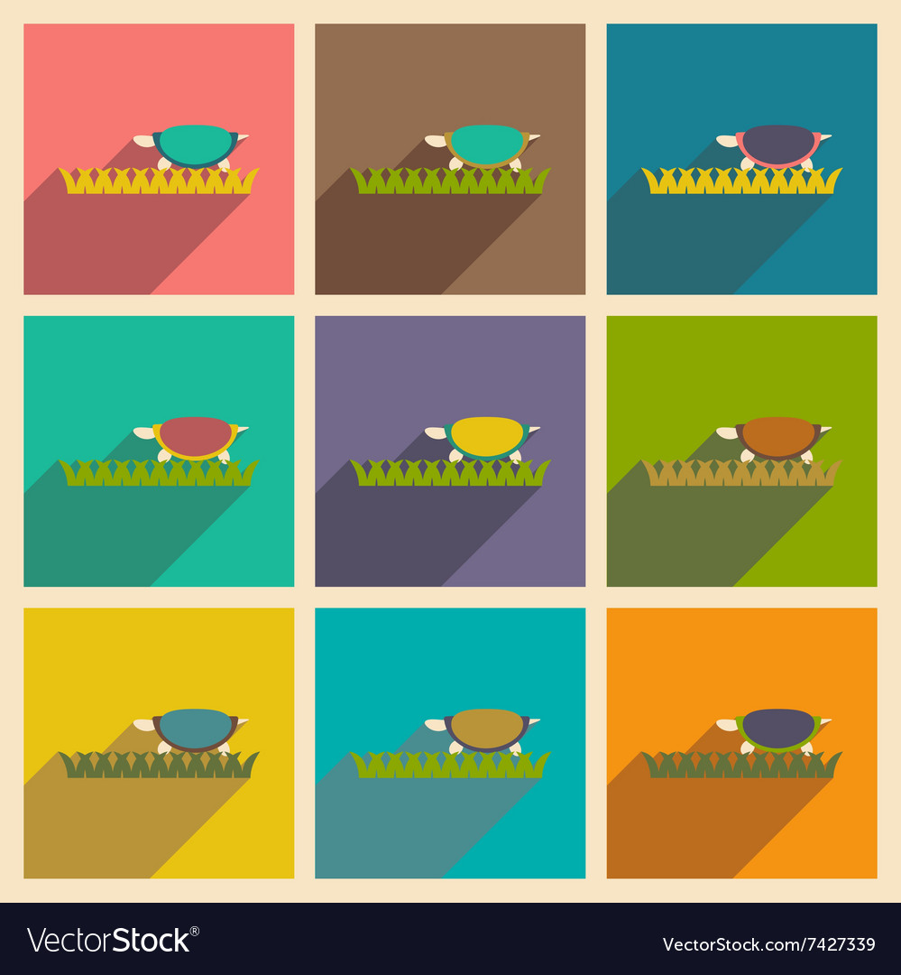Set of flat icons with long shadow ocean turtle