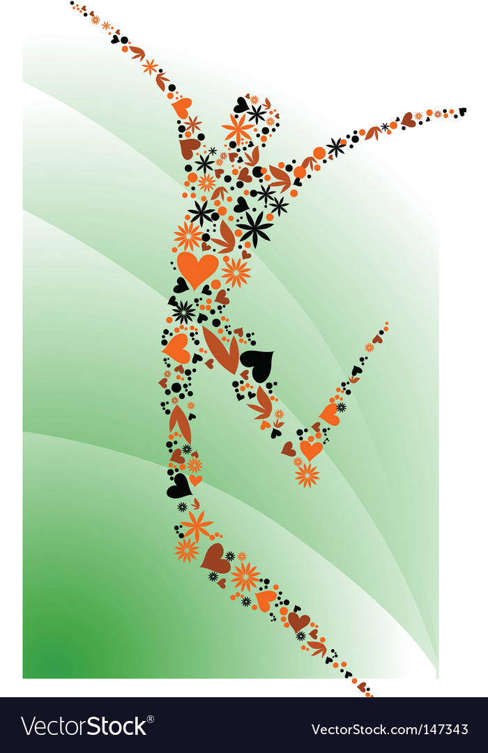 People silhouettes series floral figure vector image