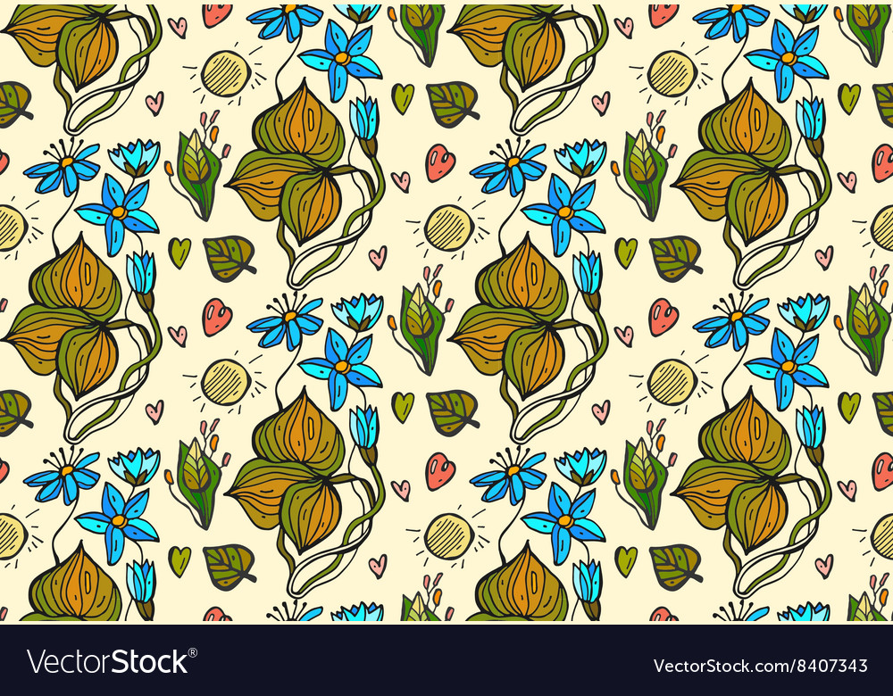 Seamless hand draw doodle floral bright vector image