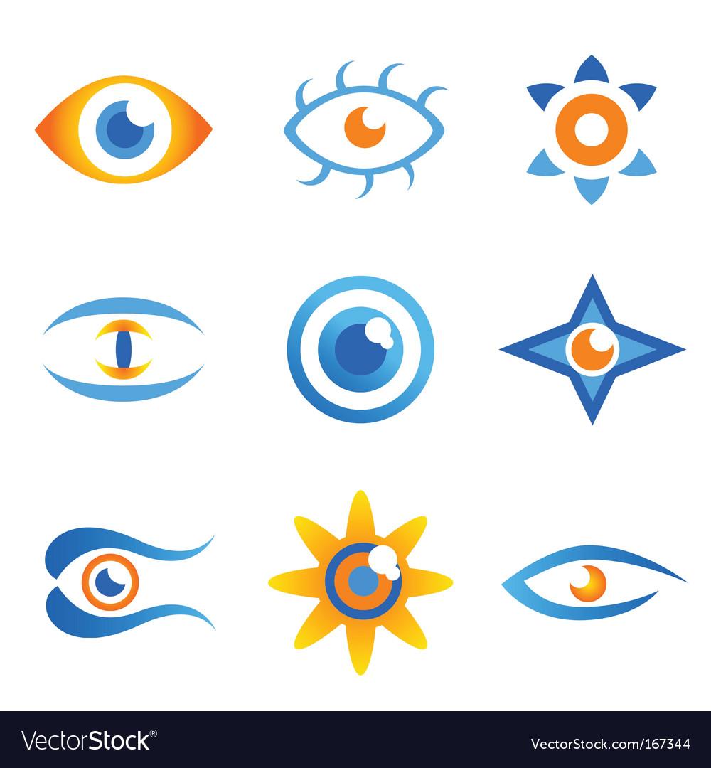 Set of eye symbols vector image