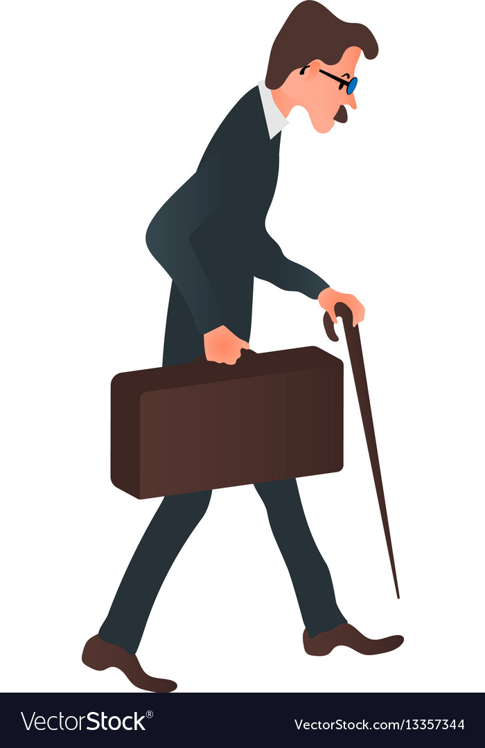 Cartoon character business man in a suit with a vector image