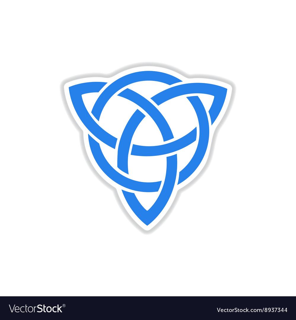 Paper sticker on white background celtic symbol vector image