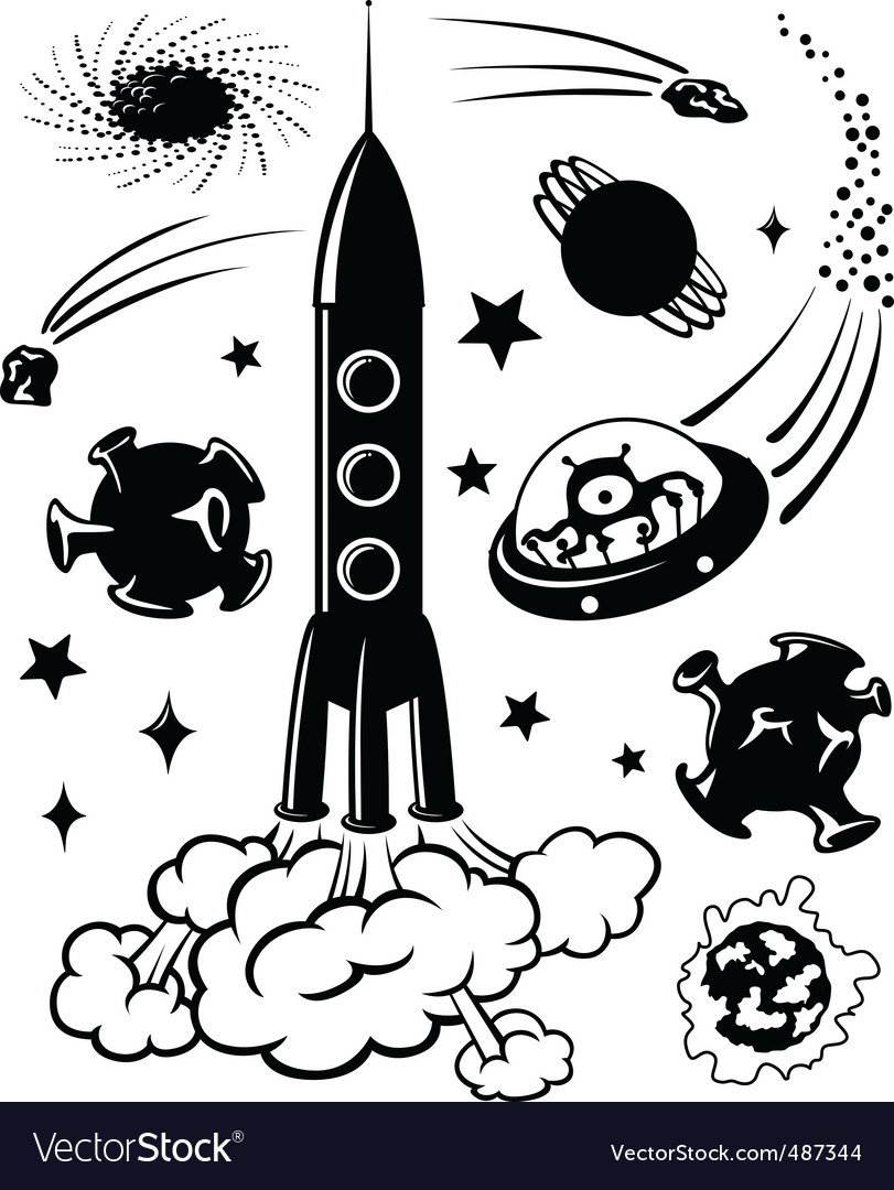 Space silhouettes vector image