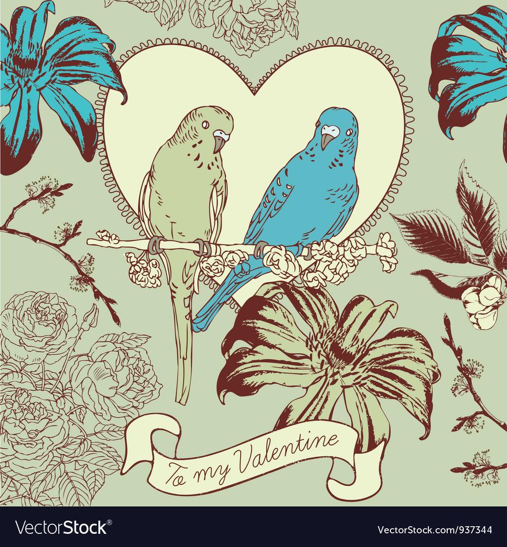 Vintage Valentines Love Birds Card vector image