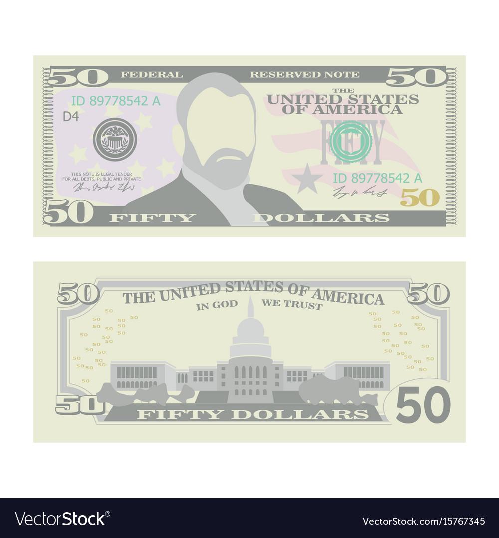 50 dollars banknote cartoon us currency vector image