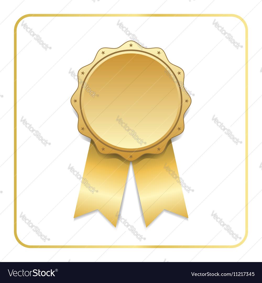 Award ribbon gold icon white vector image