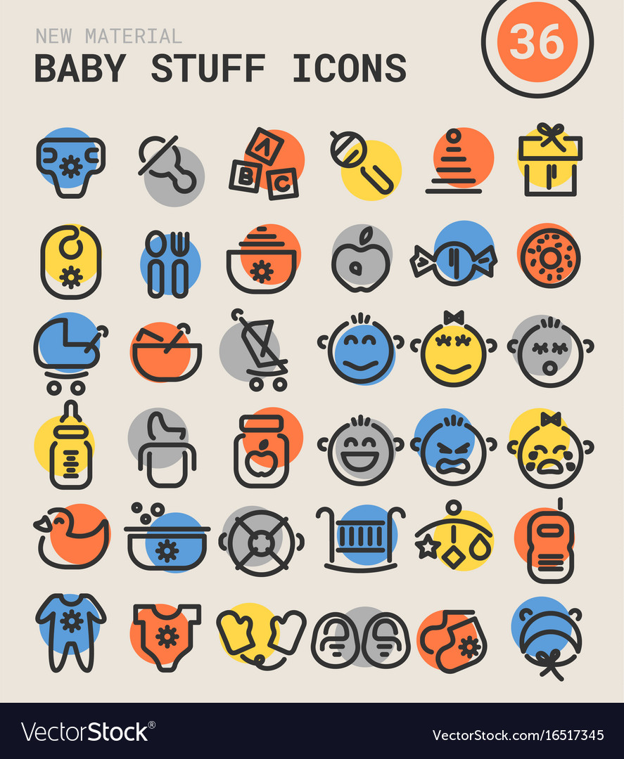 Baby stuff bold linear icons vector image