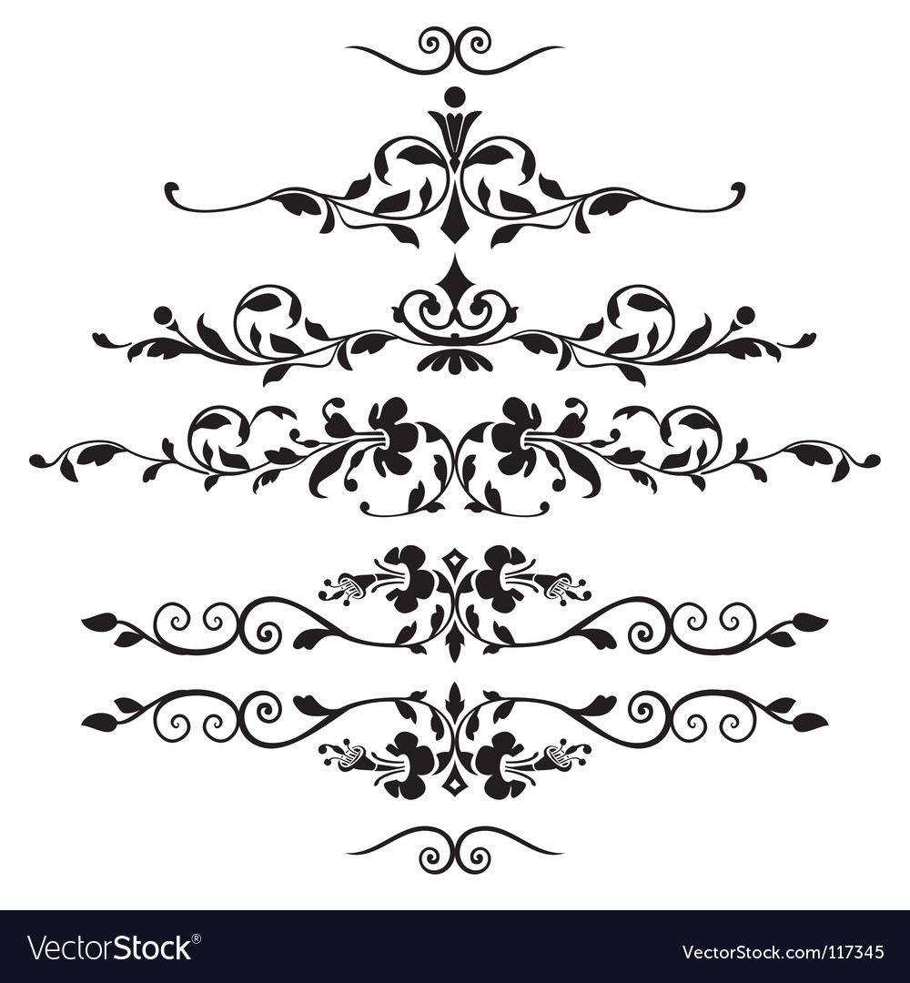 set of floral ornaments royalty free vector image
