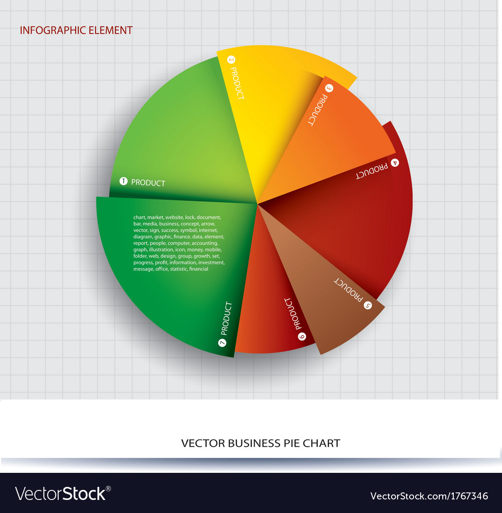 Business pie chart paper info graphics vector image