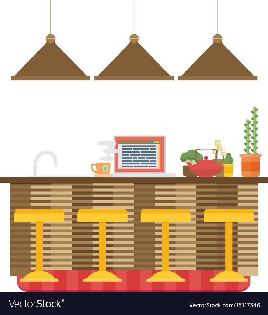 Modern flat design kitchen interior Royalty Free Vector
