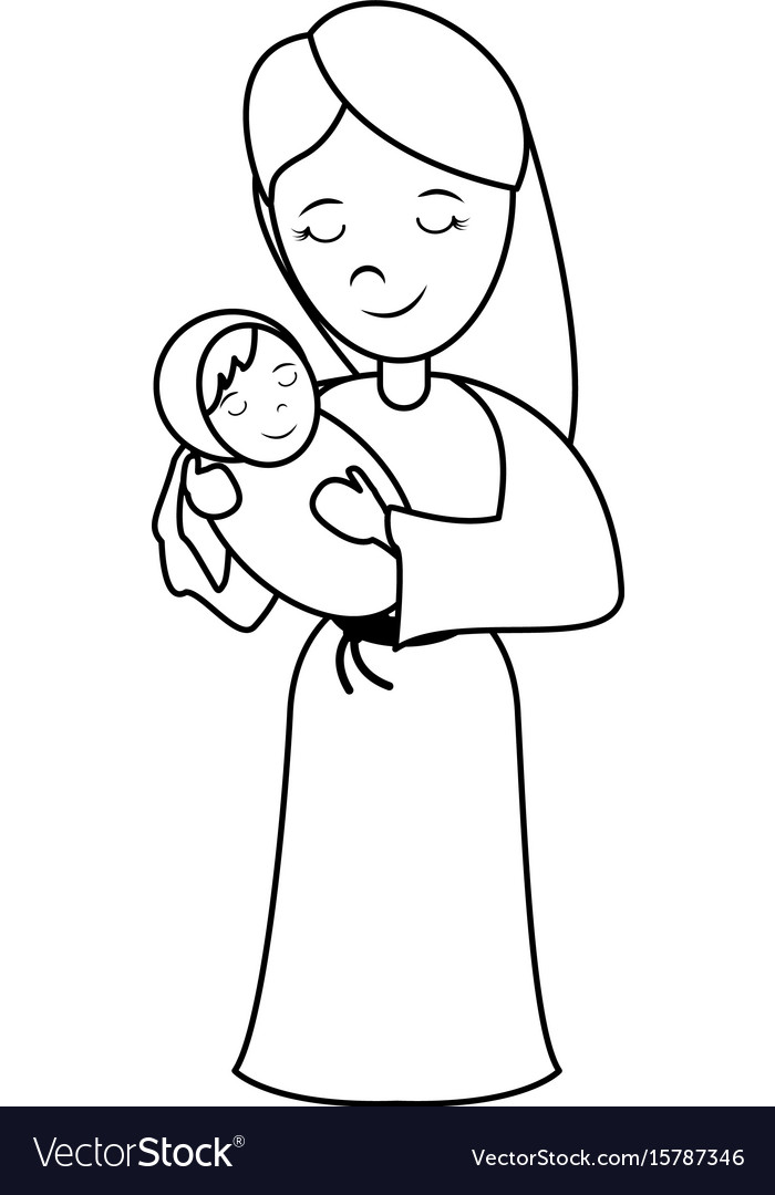 Virgin mary carrying baby jesus holy family ico vector image