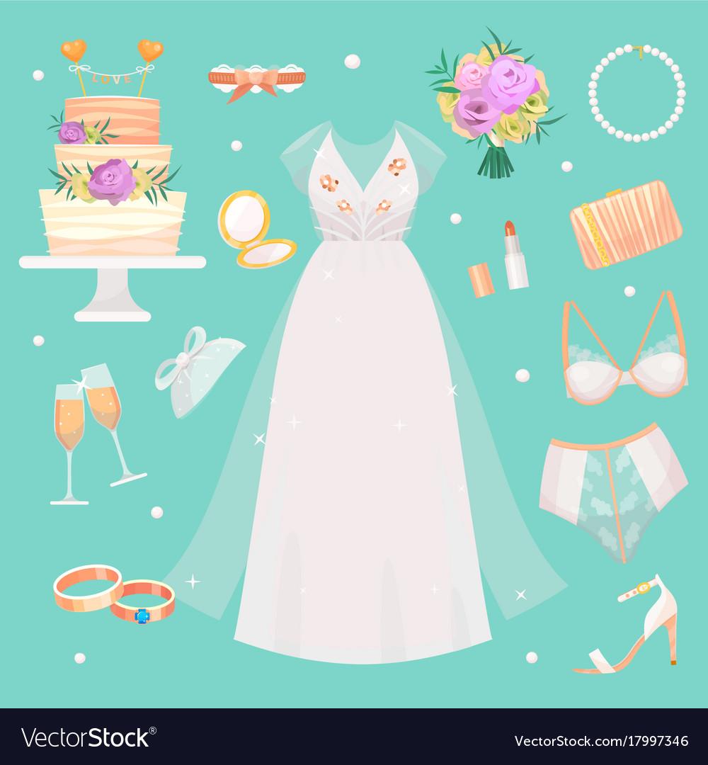 Wedding ceremony fashion bride dress and vector image