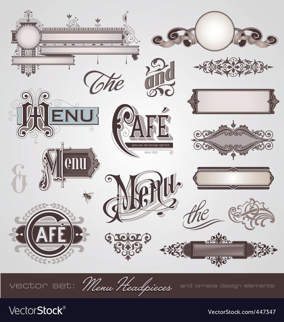 Vector set menu headpieces vector image