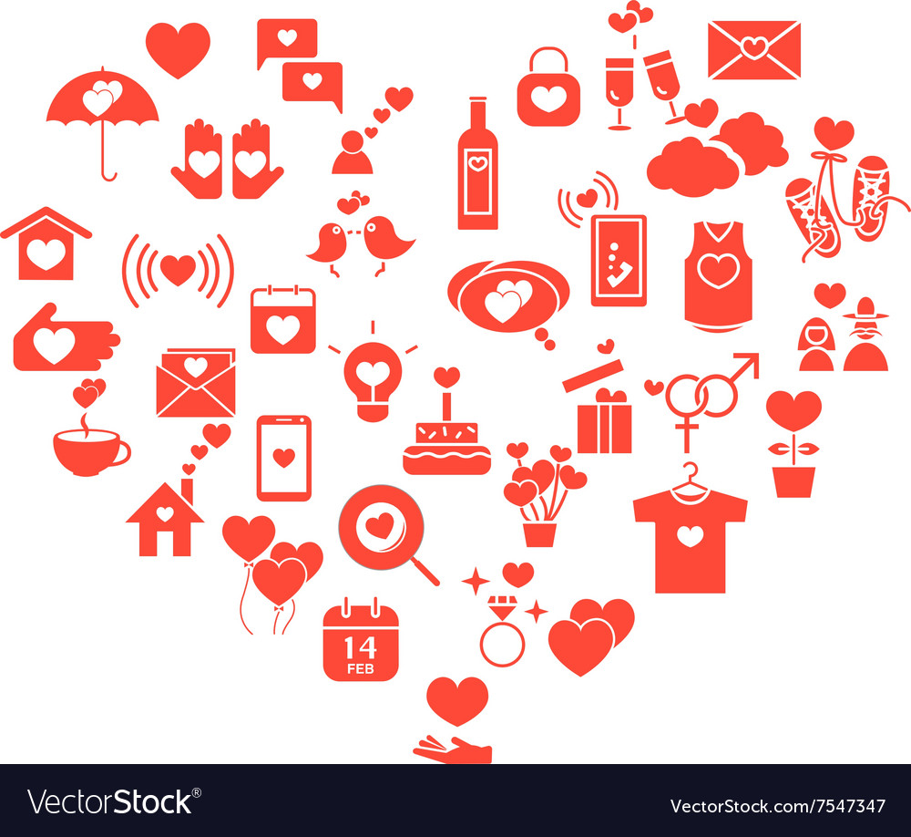 Love mix icons heart vector image