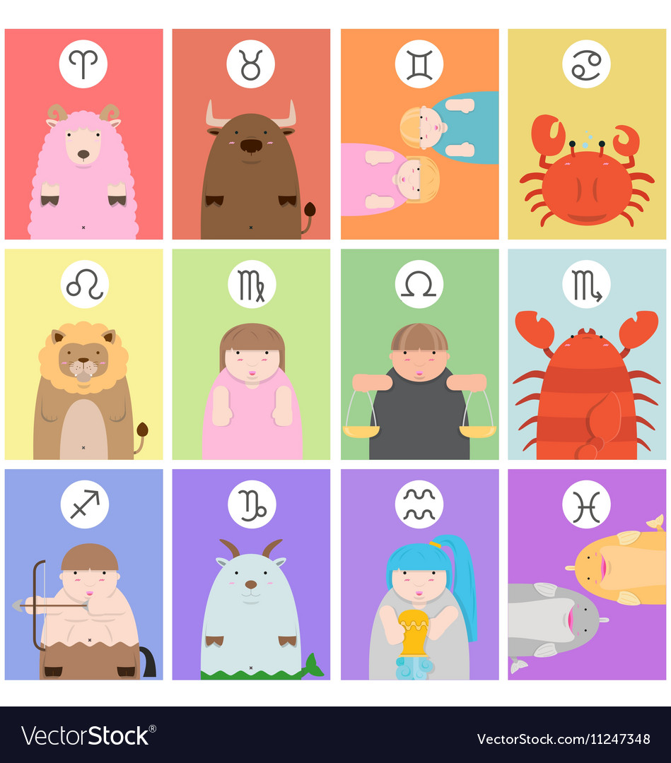 Cute big fat twelve zodiac cartoon vector image