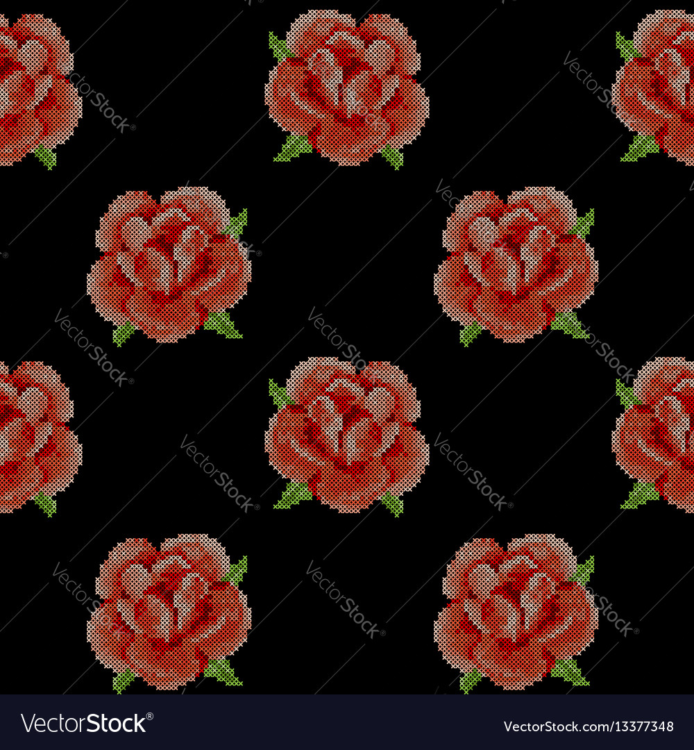 Seamless pattern with cross stitch red roses vector image