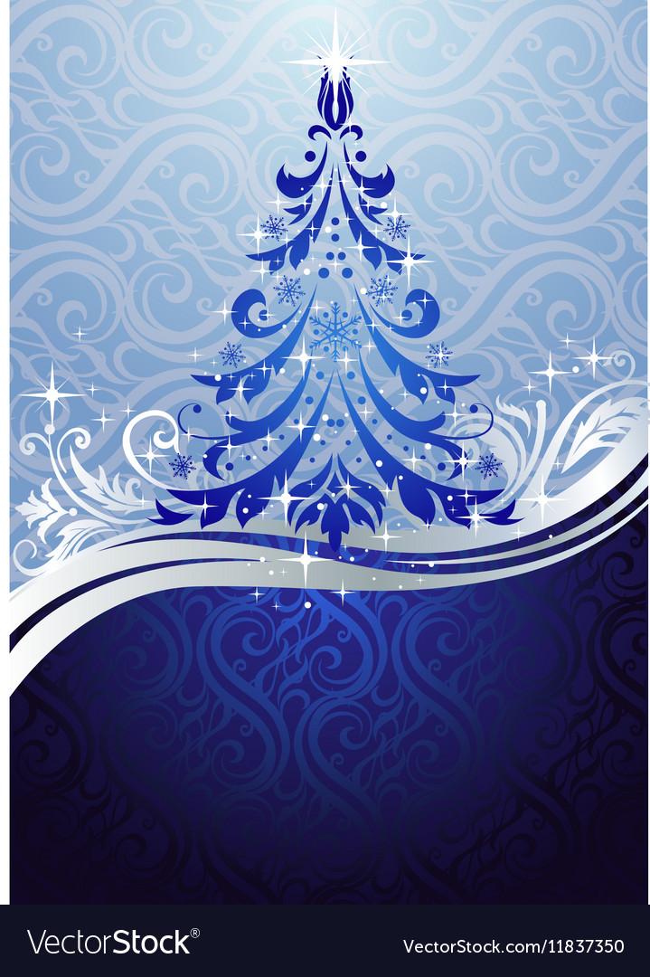 Ornate blue Christmas tree vector image