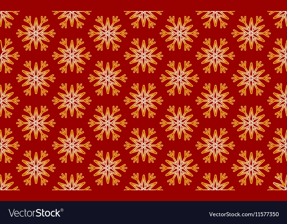 Seamless Pattern of Gold Snowflakes on a vector image