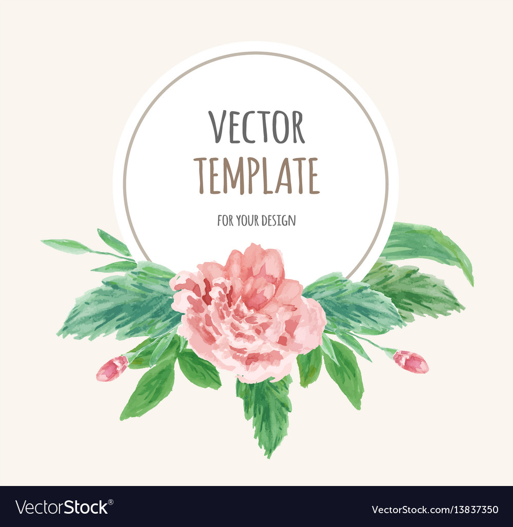 Watercolor wedding invitation design with flower vector image watercolor wedding invitation design with flower vector image stopboris Image collections