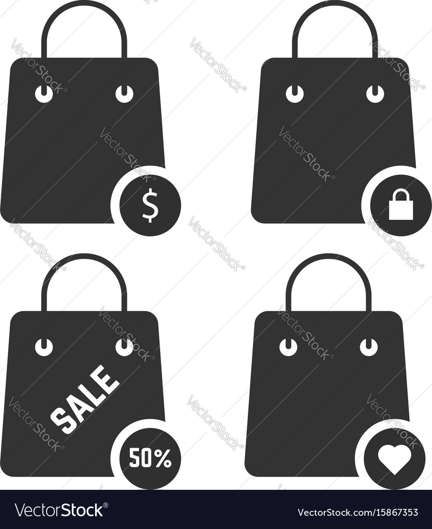 Set of black shopping bags vector image