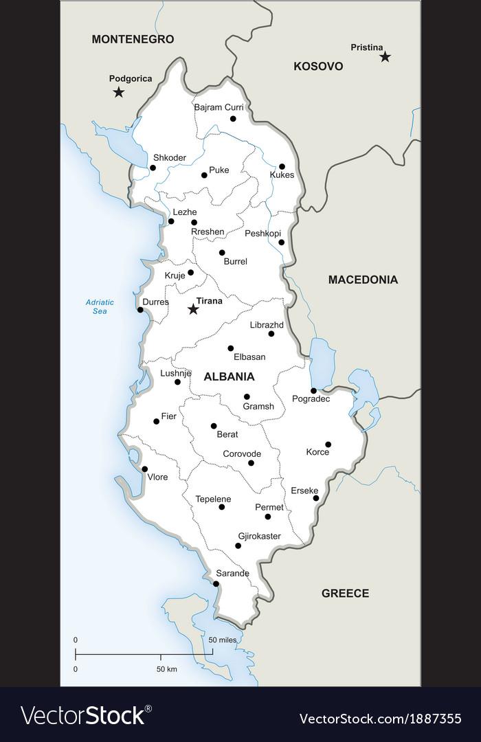 Albania political map vector image