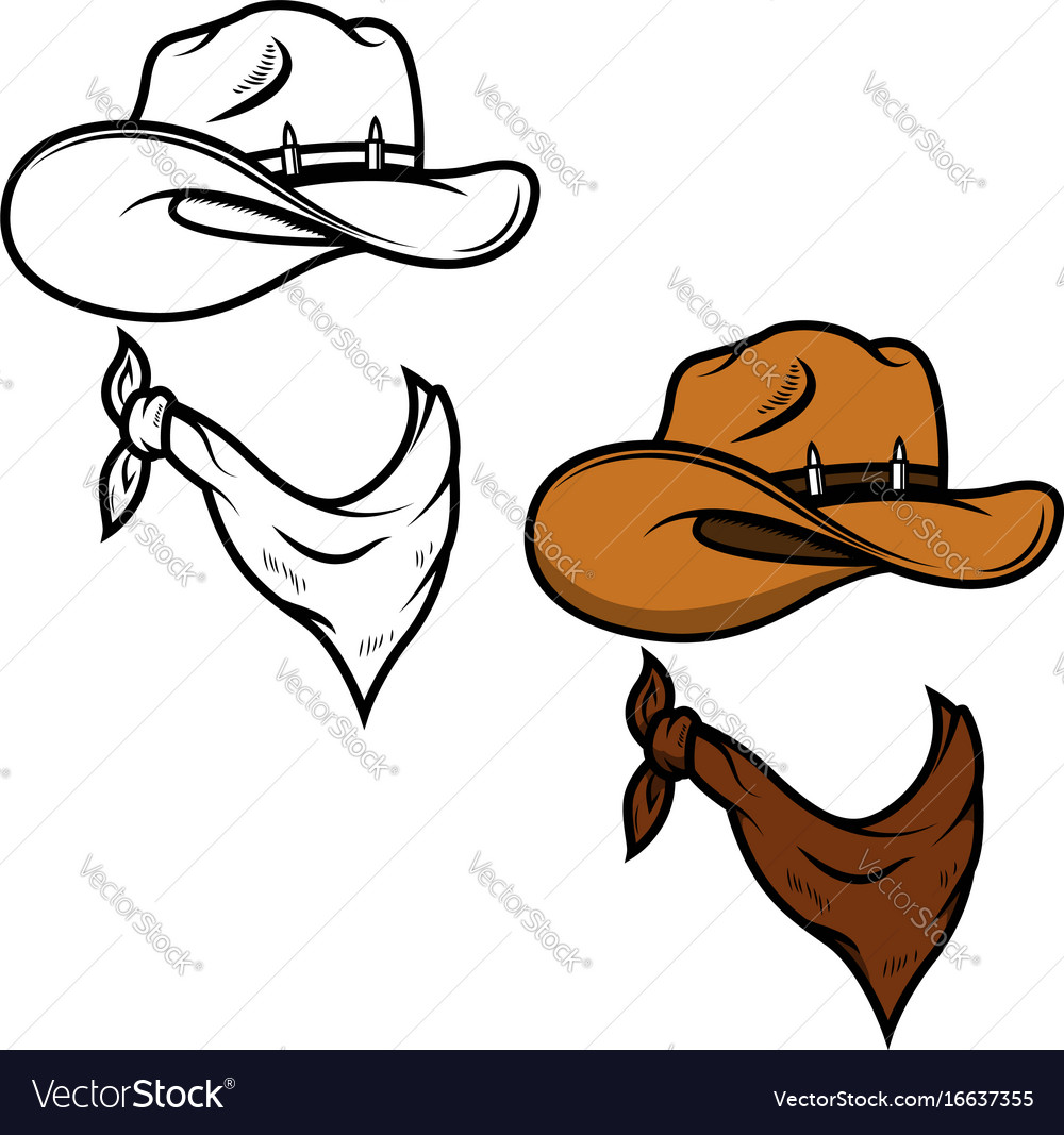 Cowboy hat and bandana isolated on white vector image