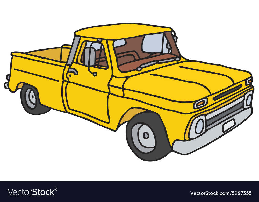 Old yellow pick-up Royalty Free Vector Image - VectorStock