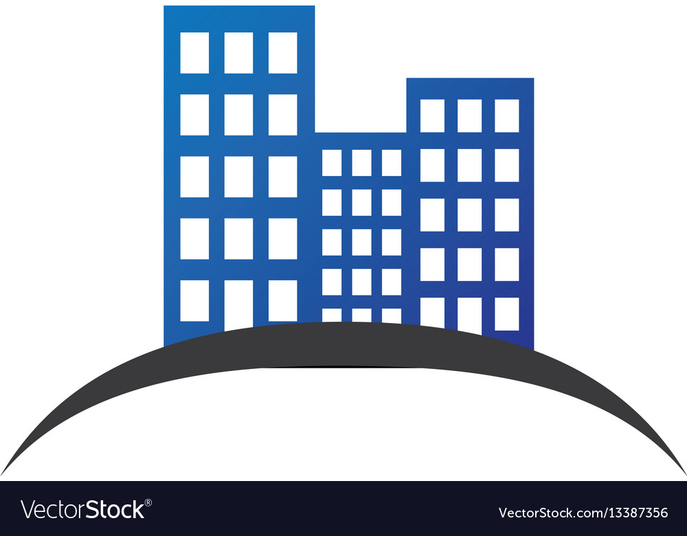 Color silhouette with building set vector image