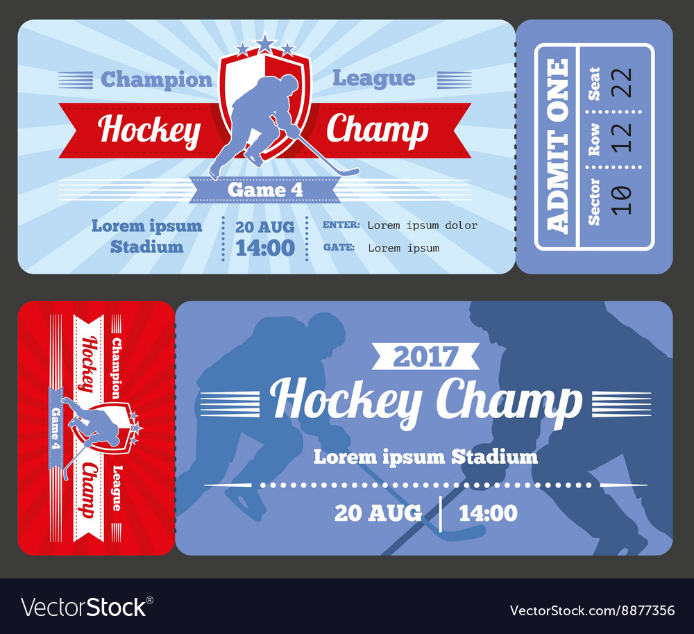 Hockey sports ticket card modern design vector image