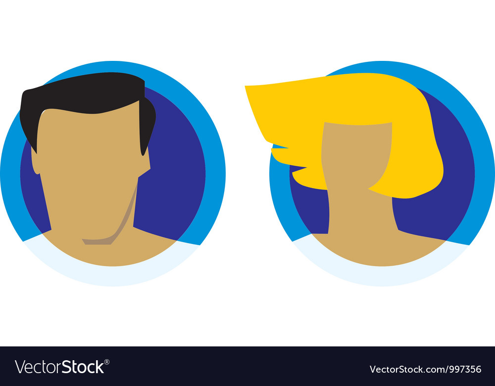 Male and female heads icons vector image