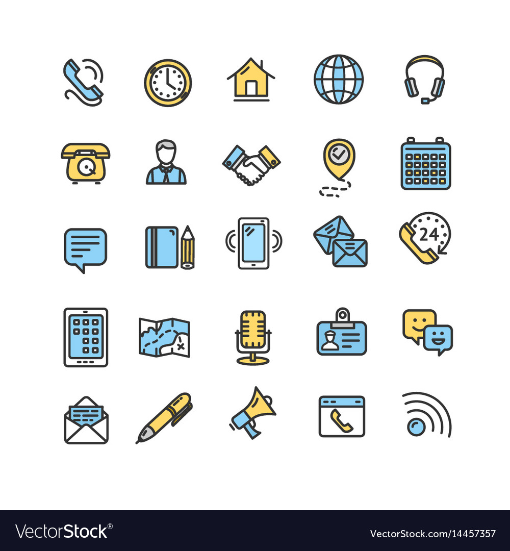 Contact us icon color thin line set vector image