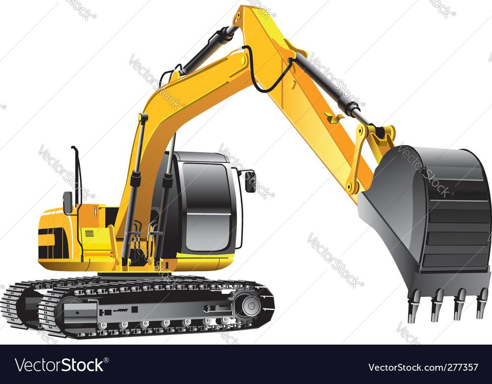 Crawler excavator vector image