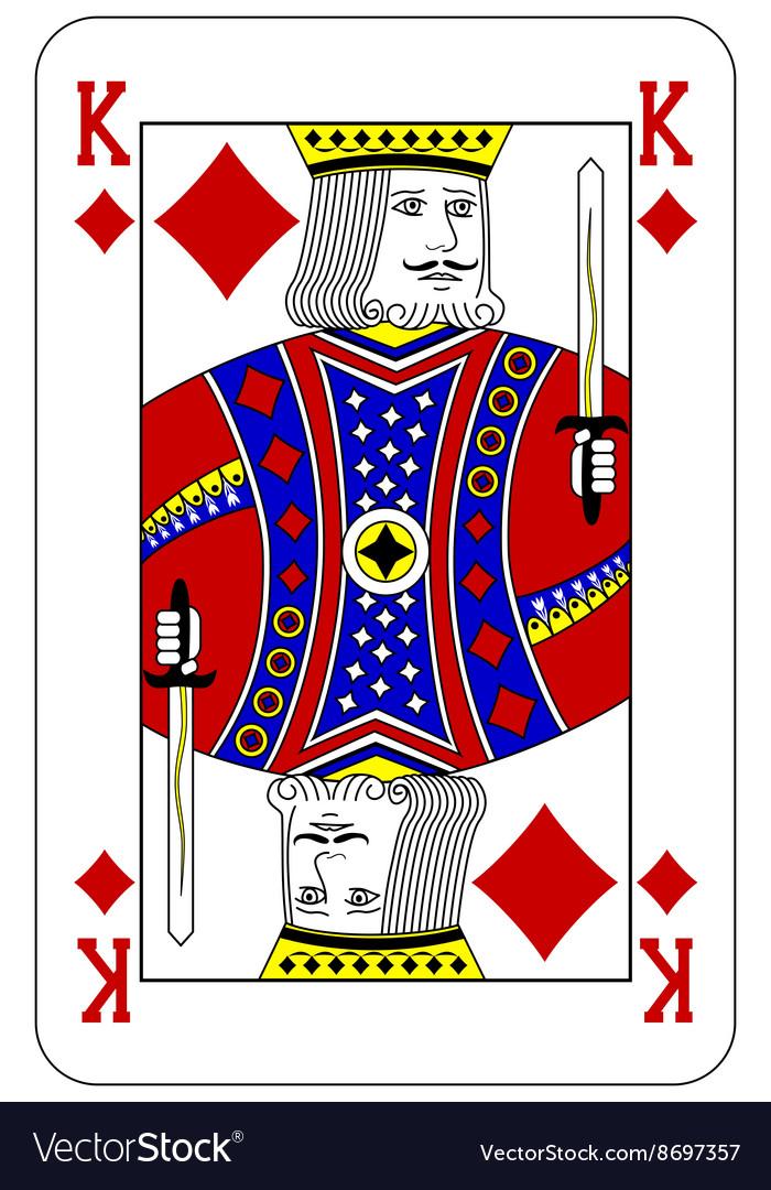 Poker playing card King diamond vector image