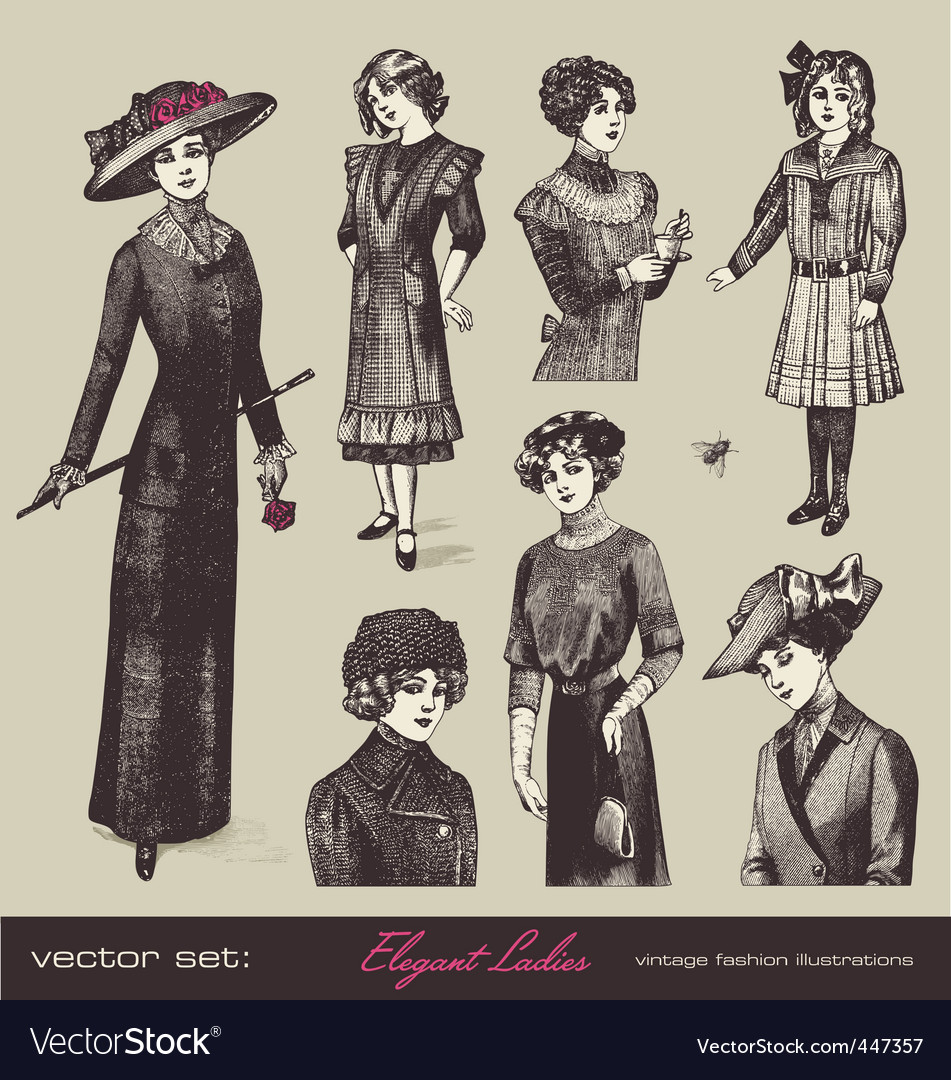 Vector set elegant ladies vector image