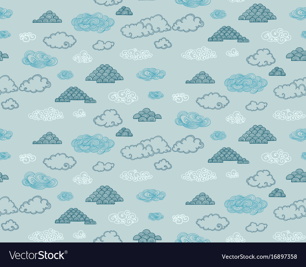 Sketch colored sky nature seamless pattern vector image