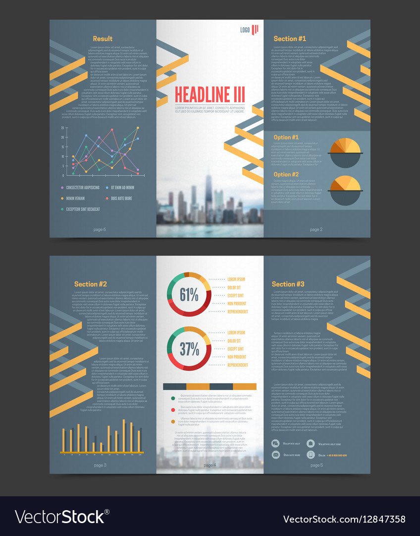 Two Fold Flyer Template Royalty Free Vector Image - Two fold brochure template free
