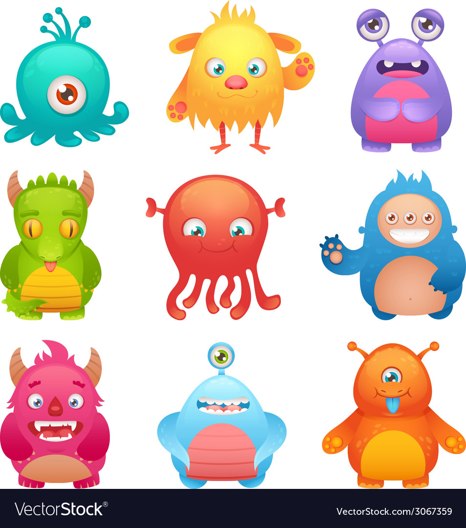 Cute monsters set vector image