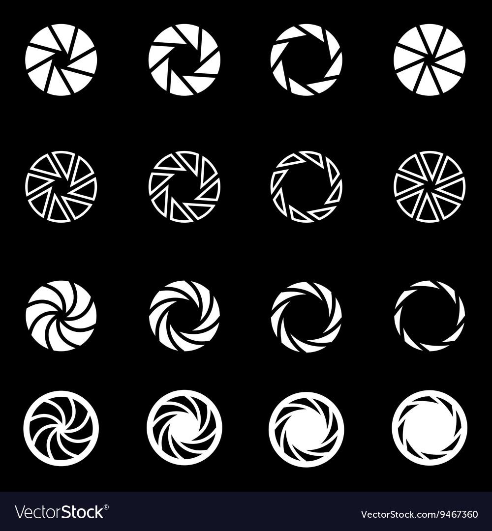 White camera shutter icon set vector image