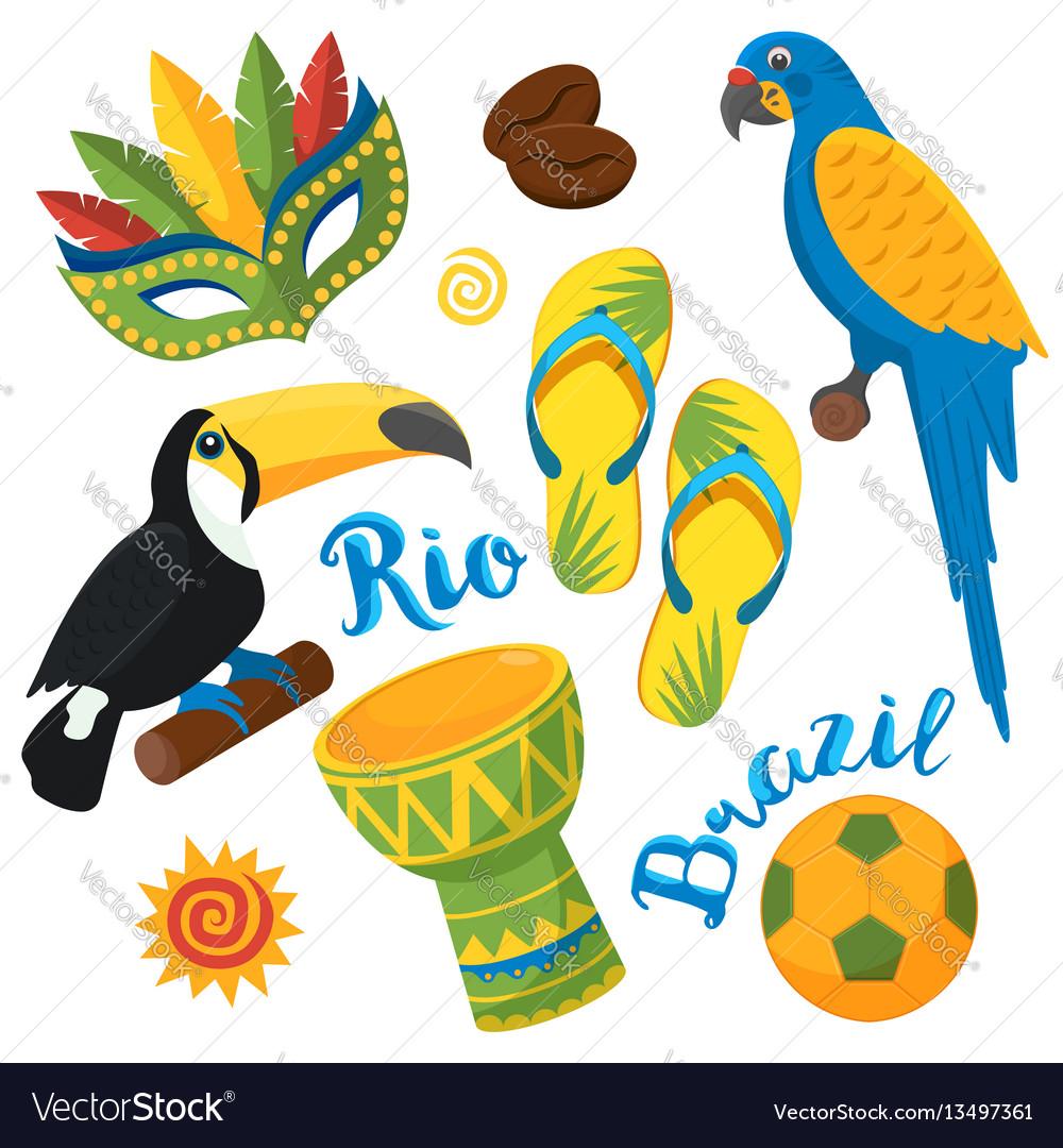 Brazilian festival in sao paulo flat icons set vector image