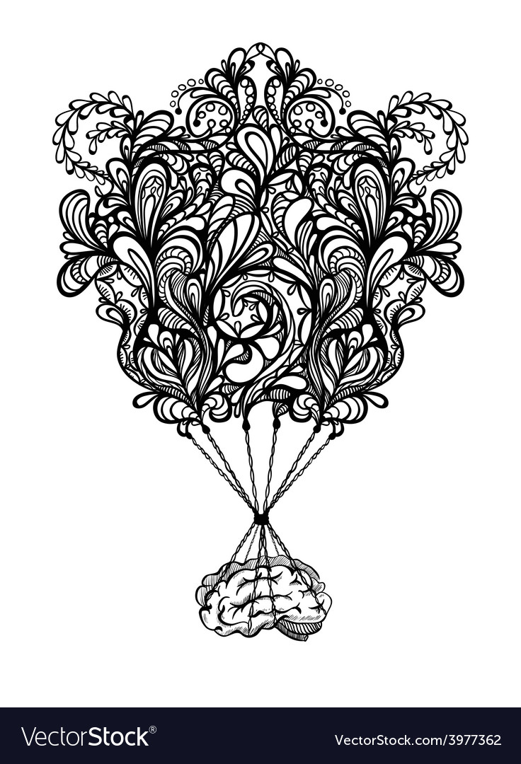 The human brain coloring book diamond - Creative Concept Of The Human Brain With Zentangle Vector Image