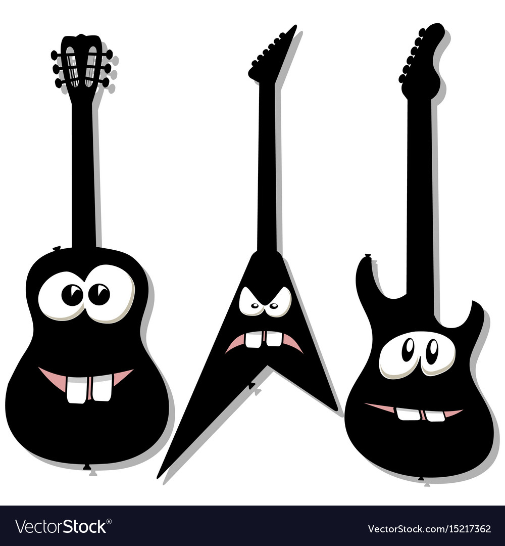 Cartoon character guitars vector image