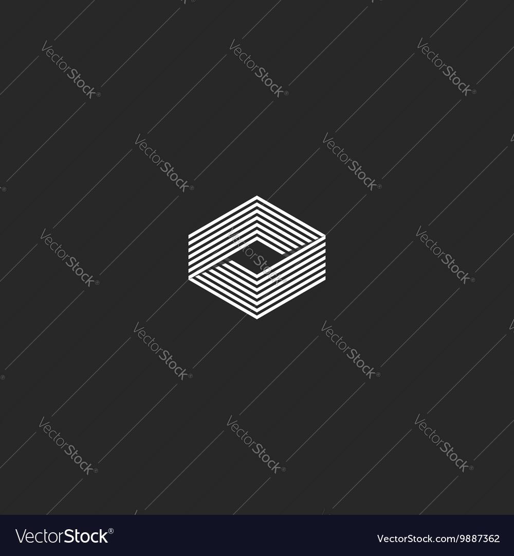 Cube logo isometric infinity geometric shape vector image