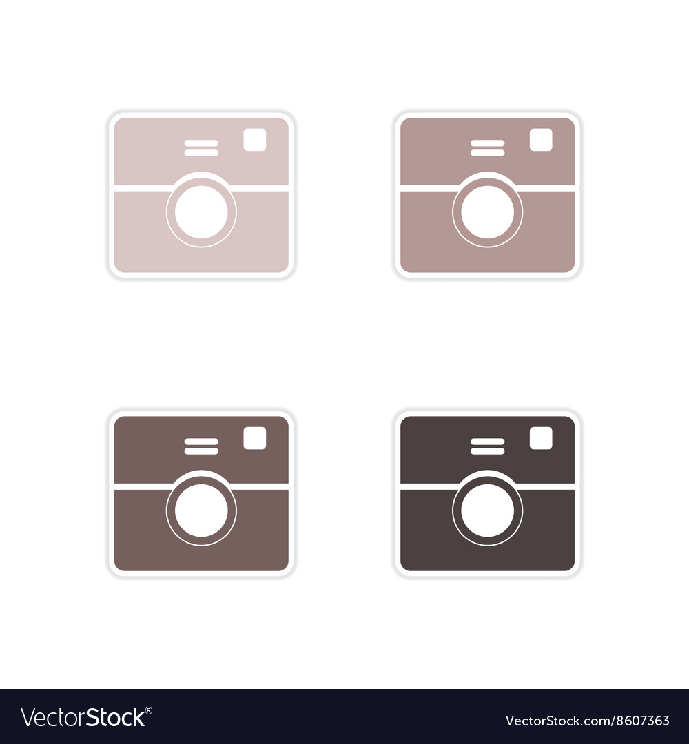 Set of paper stickers on white background camera