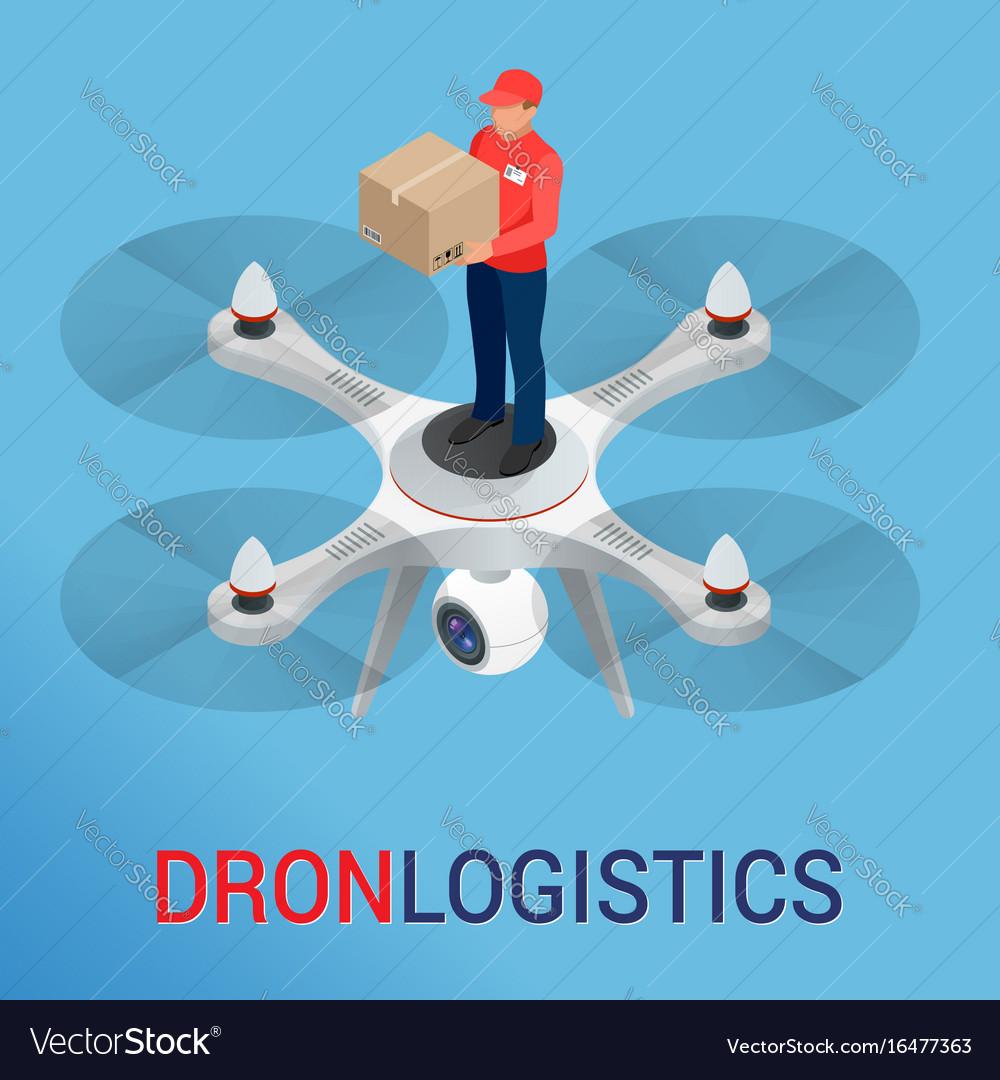 Drone logistics network flat vector image